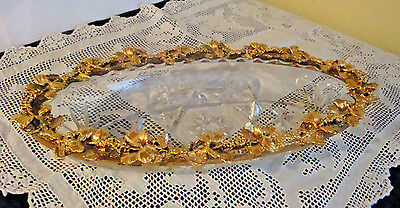 VINTAGE Gold Gilt Metal Flower Frame Cut Glass Dish Vanity/Dress/Nightstand