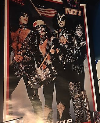 1976 Kiss US Tour Poster with Ace Frehley Autograph Aucoin