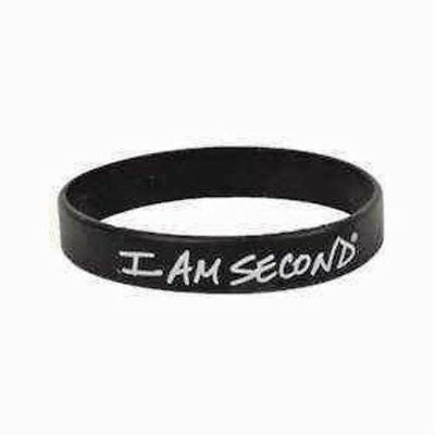 I Am Second Wristband Black & White Rubber Silicone Bracelet Live For Jesus