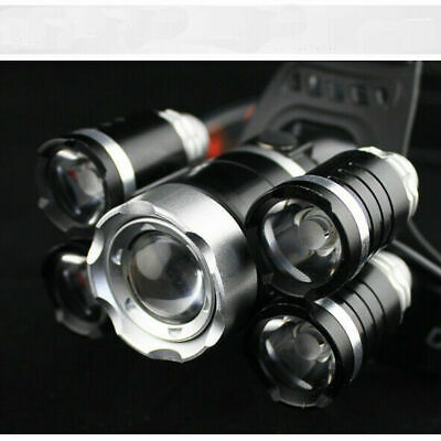 80000LM 18650 Headlamp HeadLight 5LED Zoom Rechargeable Torch Charger