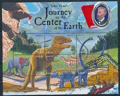 Liberia MNH SS, Prehistoric Animals Dinosaurs Jules Verne Science Fiction Center