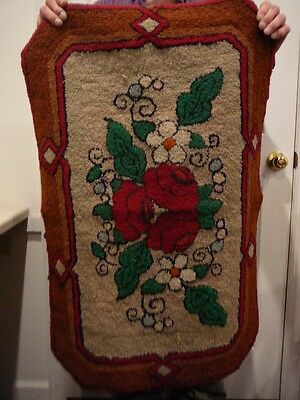 Vintage Hand Hooked Floral Rug Red Rose Green Leaves Brightly Colored