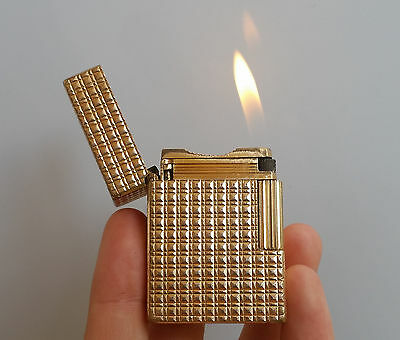 Original Vintage Lighter St Dupont BR Small Gold Plated Rare Model Cubism Luxe