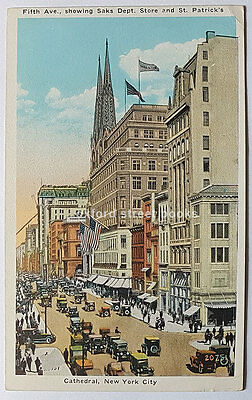 Vintage Colour Postcard 5th Avenue showing Saks & St Patricks Cathedral New York