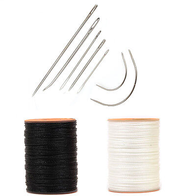 7pcs Upholstery Leather Repair Kit White Black Thread Spool Hand Sewing Needles
