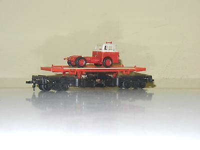 Tyco 40' Flat Car With Tractor Load Ho Scale Custom Excellent