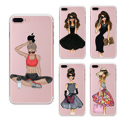Fashion Girl Pattern Clear Slim Soft Rubber Case Cover For iPhone SE 5 6s 7 Plus