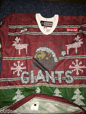 Vancouver Giants Game Used Holiday Jersey Brennan Menell Ugly Christmas Sz 56