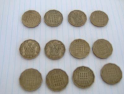 12 X Three Pence Coins 1940-1967