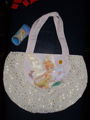Disney Store Tinkerbell White Daisy Summer Handbag NEW!