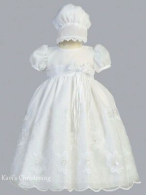Girls White Christening Baptism Gown Dress Flower & Vine Embroidered Size 0-18M