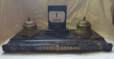 Vintage French Marble & Brass Desk Tidy With Ink Stands