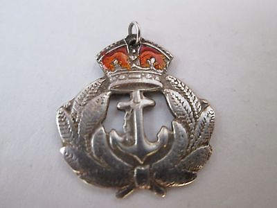VINTAGE Sterling Silver ROYAL NAVY Sweetheart PENDANT King's Crown