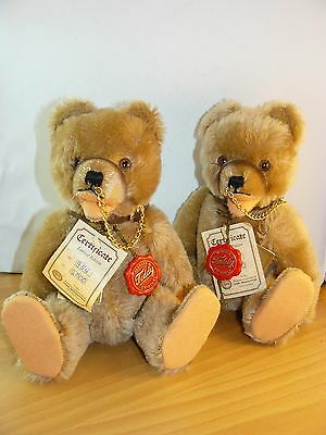 Two Hermann Teddy Original Ltd Ed ~ Nose Chain Bears ~ 954 and 972 of 2000