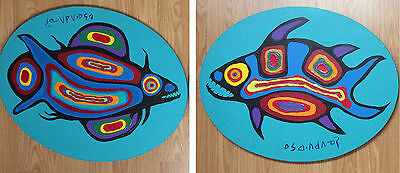 """2 Original NORVAL MORRISSEAU 16"""" x 20"""" Pike Fish Paintings Acrylic on Canvas"""