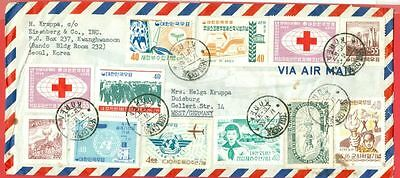 Korea 19 stamp Mostly Different used on cover to Germany