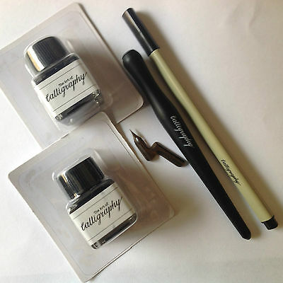 Art Of Calligraphy Set,1 Ink Dip Pen,1 Fine Pen,2 Inks And Copperplate Nib