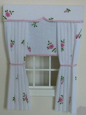 Dolls House Curtains Roses With Blind