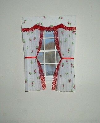 Dolls House Curtains Roses And Red Lace