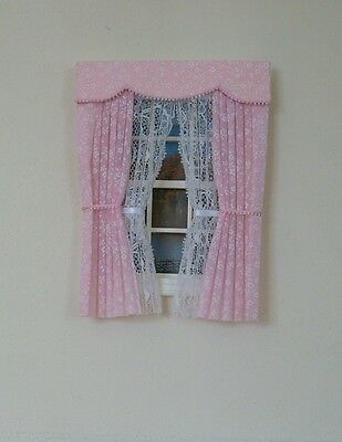 Dolls House Curtains Pink Miniprint With Tied Nets
