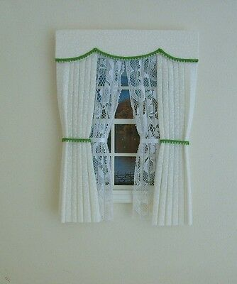 Dolls House Curtains Cream & Green With Tied Nets