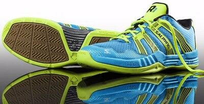 BRAND NEW Salming Race R1 2.0 Men's Court Shoes - Cyan/Yellow