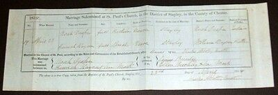1854 United Kingdom Marriage Certificate of Noah Draper and Hannah Rayner