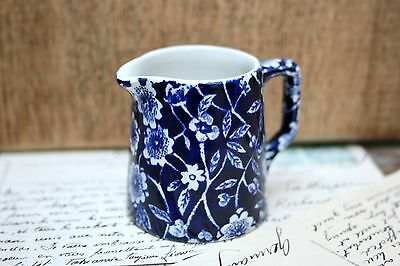 "Rare Burleigh Chintz Ware Calico pottery miniature tiny Blue & White 2"" Jug"