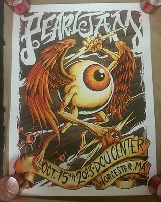 Pearl Jam Worcester, Ma October 15Th 2013 Concert Poster Brandon Heart