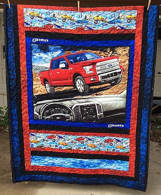 Red Ford truck quilt, New
