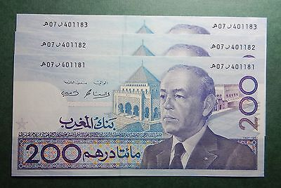 Morocco Maroc  Set Of 3 Consecutive 200 Dirhams 1987 Hassan Ii Notes Unc//neuf R