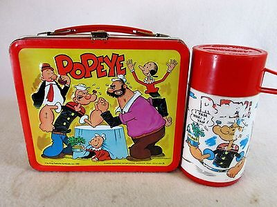 Vintage 1980 Popeye metal lunch box & plastic thermos by Aladdin