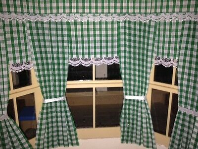 Dolls House Curtains Green Gingham With Blinds  Inside Bay