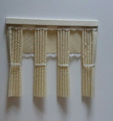 Dolls House Curtains Cream With Blinds  Inside Bay