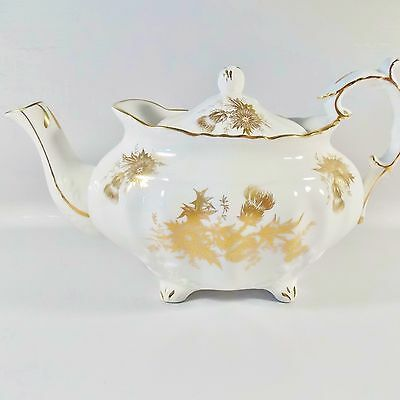 Beautiful Hammersley Thistle Teapot White With Gold Thistle English Porcelain