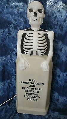 """Vintage Halloween Skeleton & RIP Grave Stone Blow Mold 35"""" By Empire"""