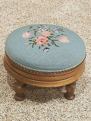 Vintage Walnut Needlepoint Round Footstool