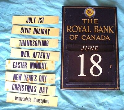 Vintage ROYAL BANK OF CANADA Advertising Perpetual Wall Calendar Sign COMPLETE!
