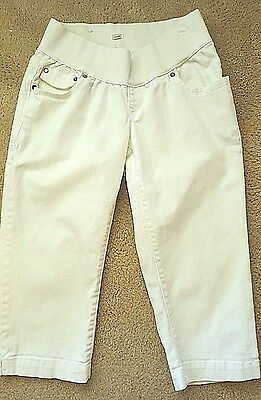 Old Navy Maternity White Belly Band Low Rise Denim Capris Pants Shorts Small S