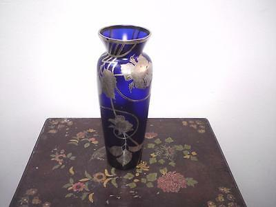 Beautiful tall overlay silver art nouveau style glass vase French ? Bohemian ?