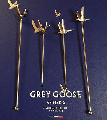 Set Of Brand New Grey Goose 2 Cocktail Stirrers and 2 Olive Sticks