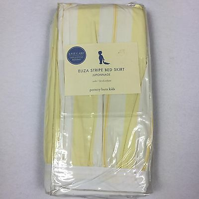 Pottery Barn Kids ELIZA Yellow White Striped CRIB Bed SKIRT toddler bedskirt NEW