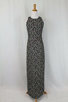 Vintage ADRIANNA PAPELL BOUTIQUE EVENING Long Beaded Silk Sleeveless Deco Gown 8