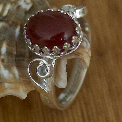 925 Sterling Silver Hand Designed Ring With Carnelian Gemstone, Lacy Cast,size 7