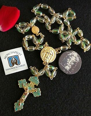 Chaplet Holy Face reparation with the Pardon cross gold tone with prayers