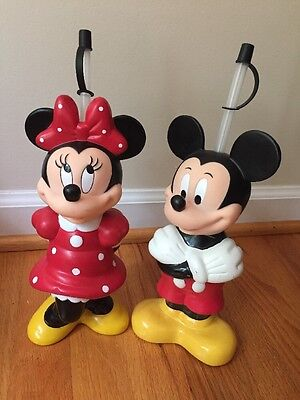 Pair Minnie & Mickey Mouse Straw Drink Containers