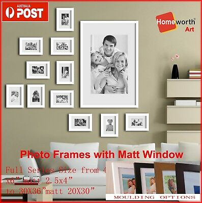 """Photo Frame From 4x6"""" to 16x20"""" Matt 2.5x4"""" to 11X14""""/A3 White Black Timber"""