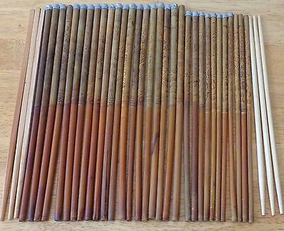 Chinese Chopsticks Etched Wood Wooden Bamboo Aluminum Metal Tips Lot Vintage