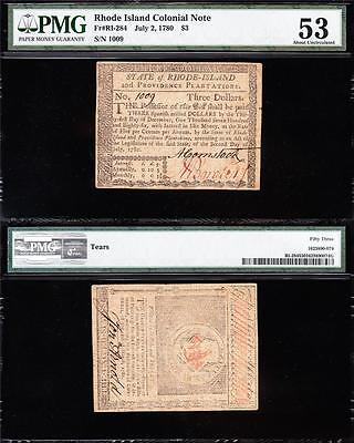 Awesome *RARE* July 2, 1780 Rhode Island Colonial $3 Note! PMG 53 FREE SHIP 1009