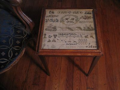 Antique 18thCentury Needlework/Embrodiery Sampler Dated 1790 Mounted As A Table